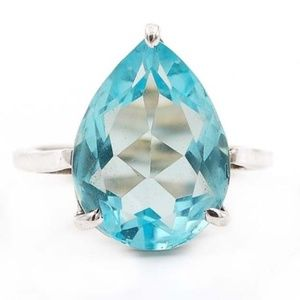 Jewelry - 6CT Swiss Blue Topaz 925 Solid Silver Ring 7.5
